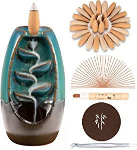 DAILYLIFE Incense Waterfall Burner Backflow Ceramic Incense Holder, Home Decor Aromatherapy Ornament with 35 Upgraded Backflow Incense Cones + 25 Incense Sticks + 1 Cushion + 1 Tweezer