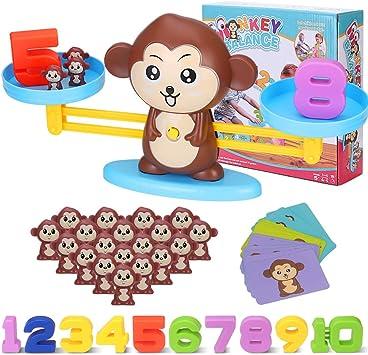 Juegos Matematicos Balanza para Niños, Equilibrar Monos Animal Juguete Montessori con Numer Tarjeta, Number y Matemáticas Aprendizaje Juguetes Educativos para Niños y Niñas de 3 4 5 6 Años (Monos): Amazon.es: Juguetes y juegos
