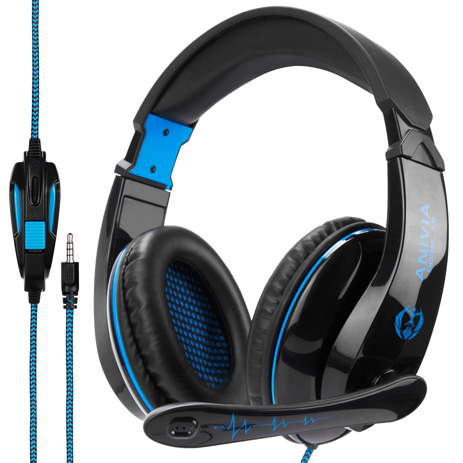 Anivia A9 PS4 Gaming Headset Headphone Over Ear Setero Gaming Headset with Microphone,Noise Canceling 3.5mm Jack for PS4 New Xbox One/Mac /PC/Computer,(Black Blue) by SADES