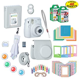 Fujifilm Instax Mini 9 Instant Film Camera Bundle with Over 15 Accessories | 40 Sheets of Instant Film + Mini Nine Leather Case + Photo Album + Lens Filters + Mini Frames + More