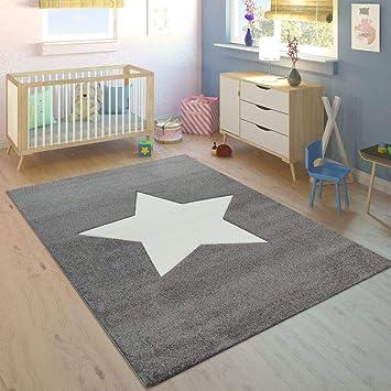 Paco Home Tapis Enfant Chambre Enfant Garçons Filles Moderne Grosse Étoile  Gris Blanc, Dimension:120x170 cm