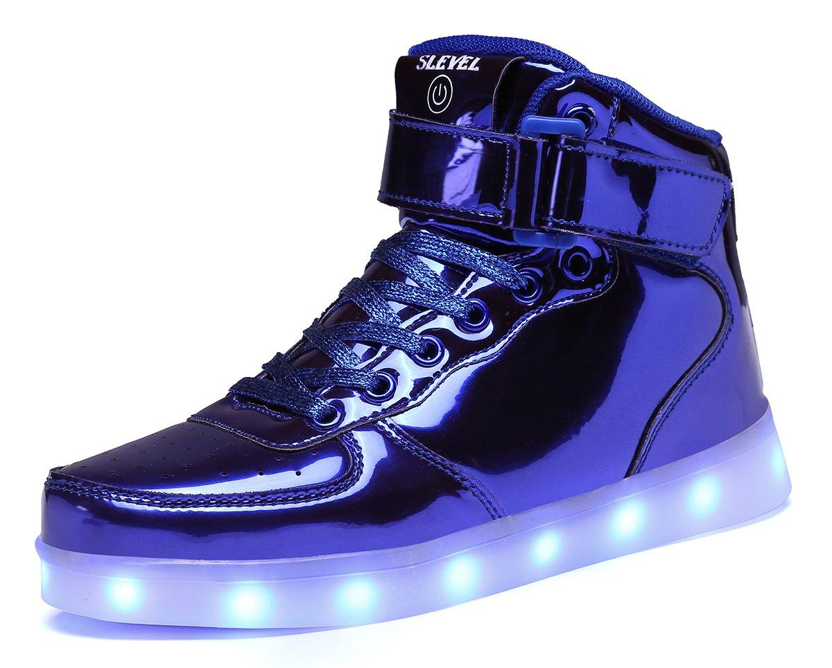 SLEVEL Upgrade LED Light up Shoes USB Flashing Sneakers for Kids Boys Girls(S98LBlue33)