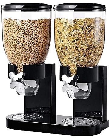 Dispensador de cereales secos con doble dep/ósito de pl/ástico Color negro. Ballino