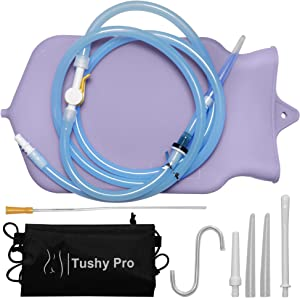 TUSHY PRO Enema Bag Kit – Set with 2-Quart Silicone Enema Bag, Hoses and Carrying Bag – Efficient and Quick Cleansing – Food-Grade Silicone – Discrete and Practical Enema Kit for Home