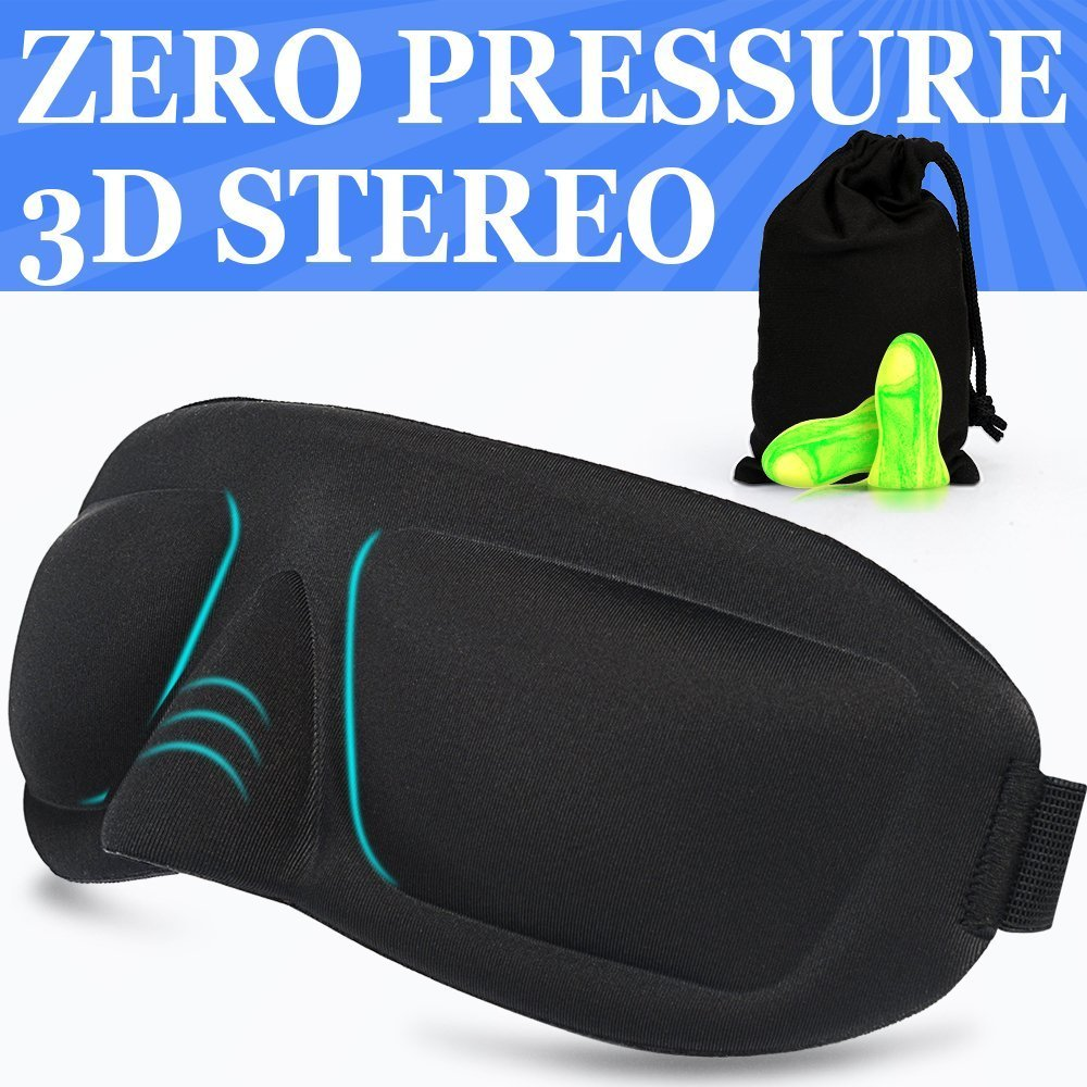 Sleep Mask AMAZKER Lightweight Upgraded Contoured & Comafortable & Ear Plugs Includes Carry Pouch for Eye Mask and Ear Plugs - for Sleeping Travel Shift Work & Meditation for Men and Women(AM-E)