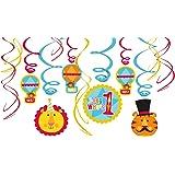 6 Deko-Wirbel * ZIRKUS * für Kindergeburtstag oder Motto-Party // 998573 // Kinder Geburtstag Kinderparty Party Decken-Deko Deko Swirl Decorations Dekoration Hänge-Deko FISHER PRICE Fischer Circus