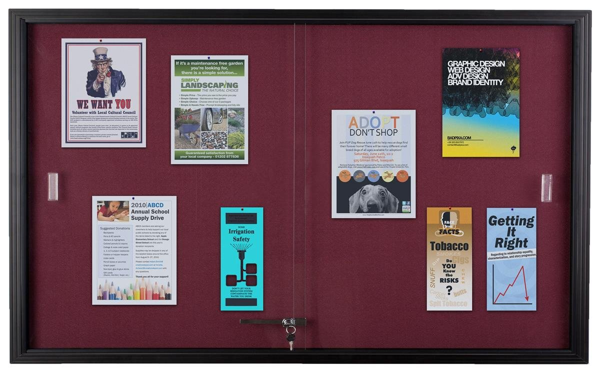 Displays2go 60 x 36 Inches Locking Bulletin Board, Sliding Glass Doors, Maroon Fabric (FBSD63BKMR)