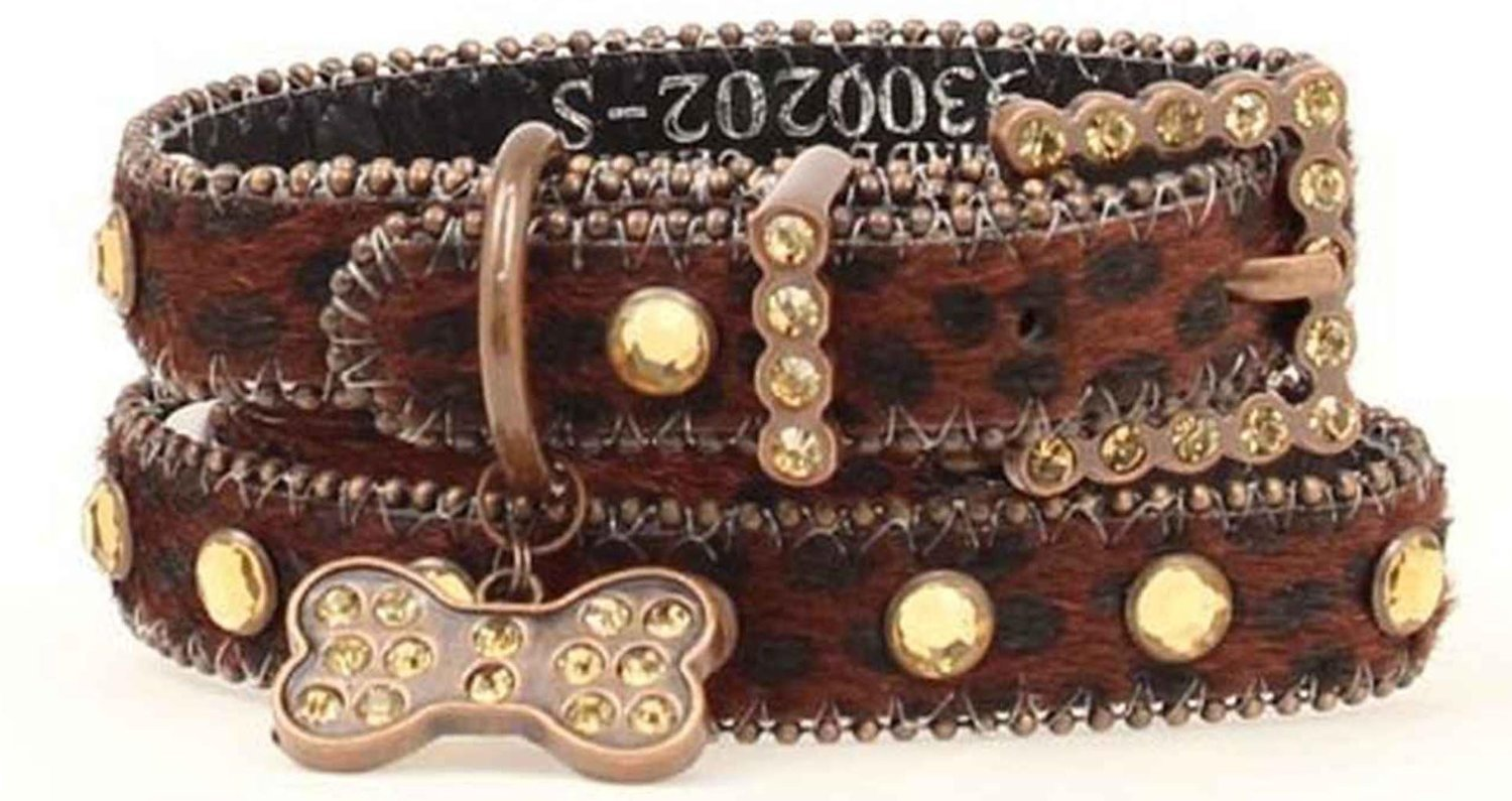 Blazin Roxx Dog Collar 9300202 3 4-in Pet Collar Brown with Dog Tag and Bling (Small)