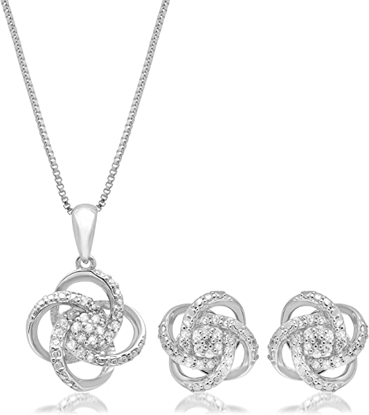 aafdb05f77ae5 1/4 CT.TW. Diamond Love Knot Set in Sterling Silver with 18