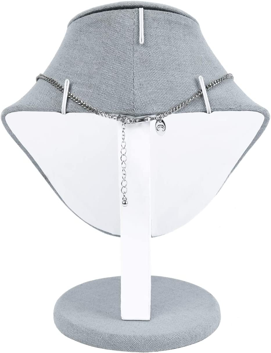 Dim Gray Linen Necklaces Display Necklace Mannequin Mooca Linen Covered Wood Jewelry Display Necklace Chain Jewelry Bust Display Holder Stand Necklace Bus 8 3//4 Height