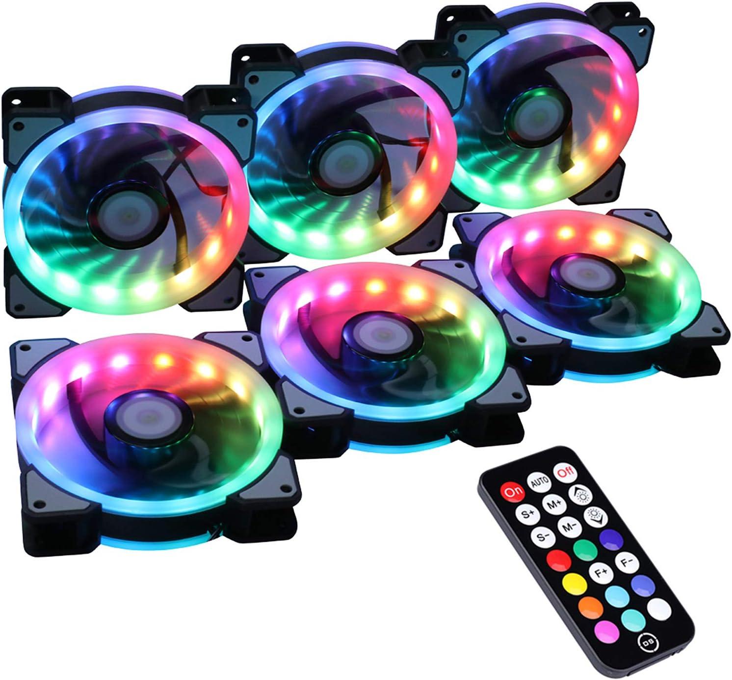 Ubanner sans Fil RVB LED 120 mm Ventilateur de boîtier avec contrôleur pour PC Cases, refroidisseurs, radiateurs, Ventilateurs System (6PCS RGB,