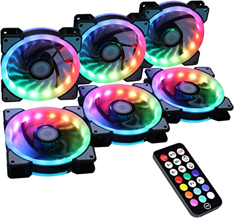 Ubanner inalámbrico RGB LED 120 mm Caso Ventilador con Controlador ...