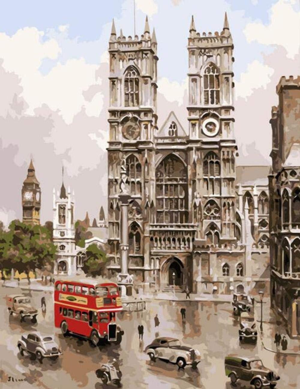Pintura por Números Notre Dame DIY Pintura al óleo para Adultos Niños con Pinceles y Pinturas Hogar Decoración Regalo 40x50cm Sin Marco