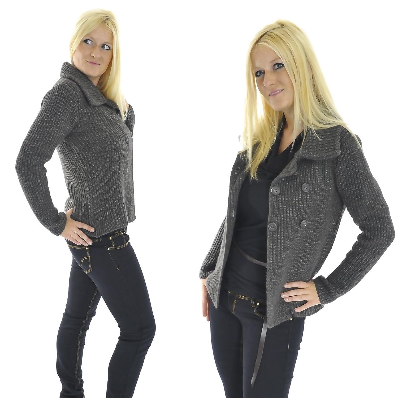 Strickjacke Cardigan Jacke Zweireiher Mohair Wolle braun grau