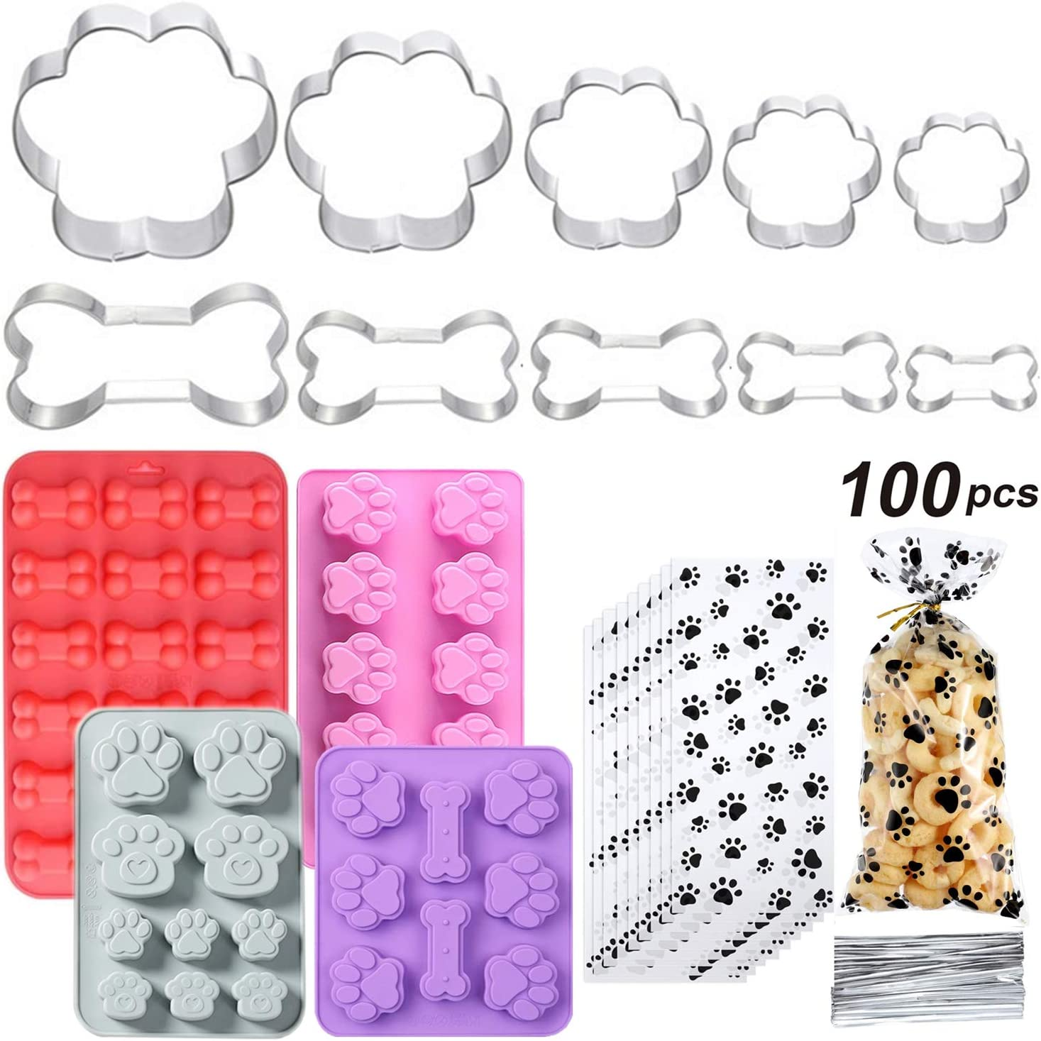 Dog Treat Cookie Cutter Set with Dog treat bags, Dog Bone Cookie Cutter,Puppy Treat Molds,Stainless Steel Dog Paw Print Cookie Mold for Homemade Treats(10 cutters+4 different molds+100 bags)