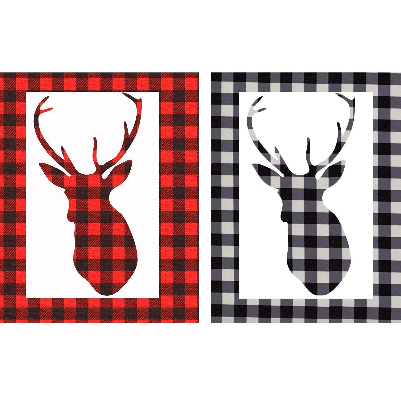 12 x 12Self Adhesive Craft Printed Vinyl Sheets Cloth for Shirt and DIY Craft 2 Sheet Buffalo Plaid Vinyl Sheet Red Black Plaid + Green Black Plaid