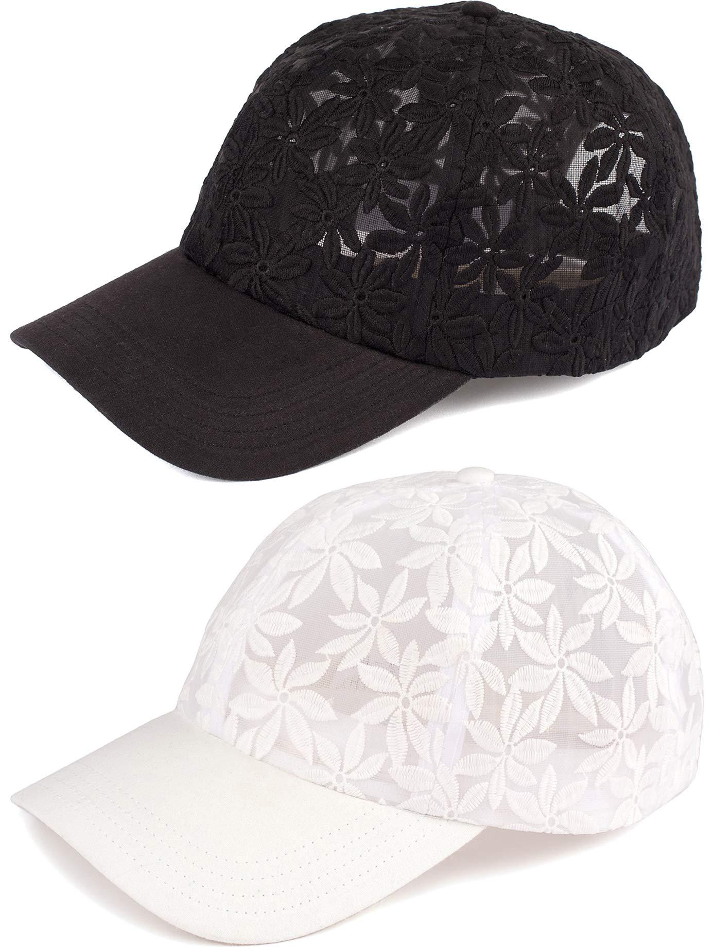 H-6053-2-0609 Floral Cap Bundle: Sheer Daisy Black & White 2 Pack