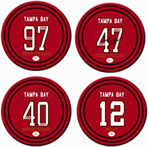 Non Buccaneer Coasters for Drinks, Ceramic Tampa Bay Football Coasters Set of 4, for Buccaneer Man Cave Table Mug Cup Glass Home Decor, Buccaneer Party Supplies Decorations, Buccaneer Gifts for Men