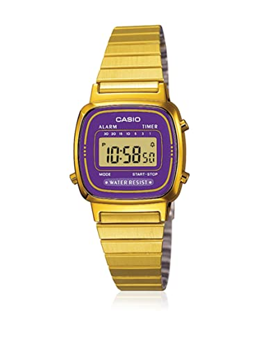 acheter maintenant prix abordable site professionnel Casio - LA670WGA-6D - Vintage - Montre Femme - Quartz Digital - Cadran  Violet - Bracelet Acier plaqué Doré