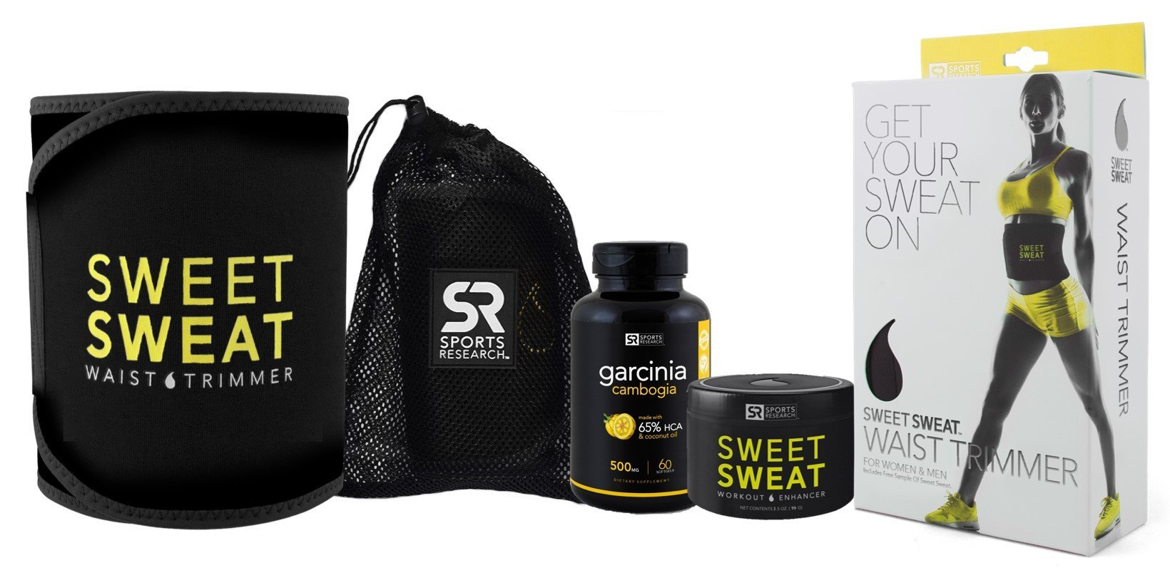 Sweet Sweat Combo Kit with 3.5 oz Jar of Workout Enhancer Cream, Size M Waist Trimming Belt and 60 ct Garcinia Cambogia Softgels + Mesh Carrying Bag by Sweet Sweat