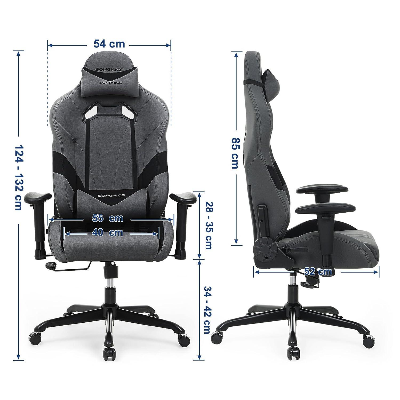 SONGMICS Bürostuhl Gaming Stuhl mit 3D Armlehnen Armlehnen Armlehnen Computer Spiel Stuhl Bürostuhl Racer, Wippfunktion, Verstellbare Armlehnen, ergonomisch, Lendenkissen, 66 x 72 x 124-132 cm Schwarz-Rot RCG23R 95155e