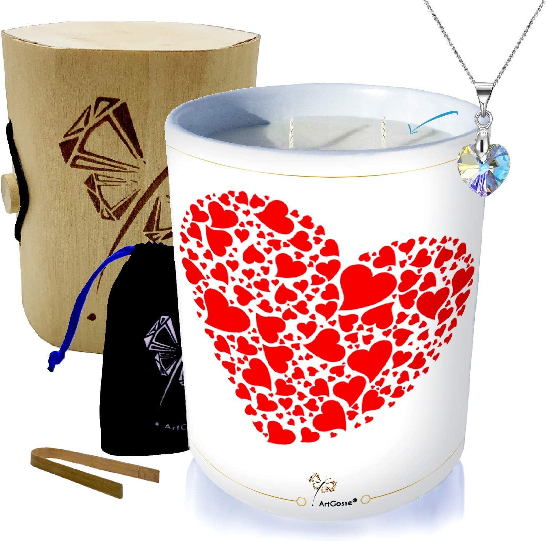 ArtGosse Bougie Bijou 2 mèches • Parfum Pomme d'amour • Orné de Cristaux de  Swarovski® (Pendentif Petit Coeur)