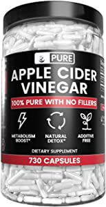 Raw 100% Natural Apple Cider Vinegar No Magnesium Stearate or Rice Fillers (730 Capsules) 8 Month Supply, Non-GMO, Made in USA, 1,440 mg Undiluted ACV Powder with No Additives