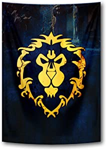 Tapestry Banner Flags Blue Cool Game Wall Posters Wall Scroll Poster with World of Warcraft Horde Symbol Red Home Decor Fabric Painting 39x59 Inch