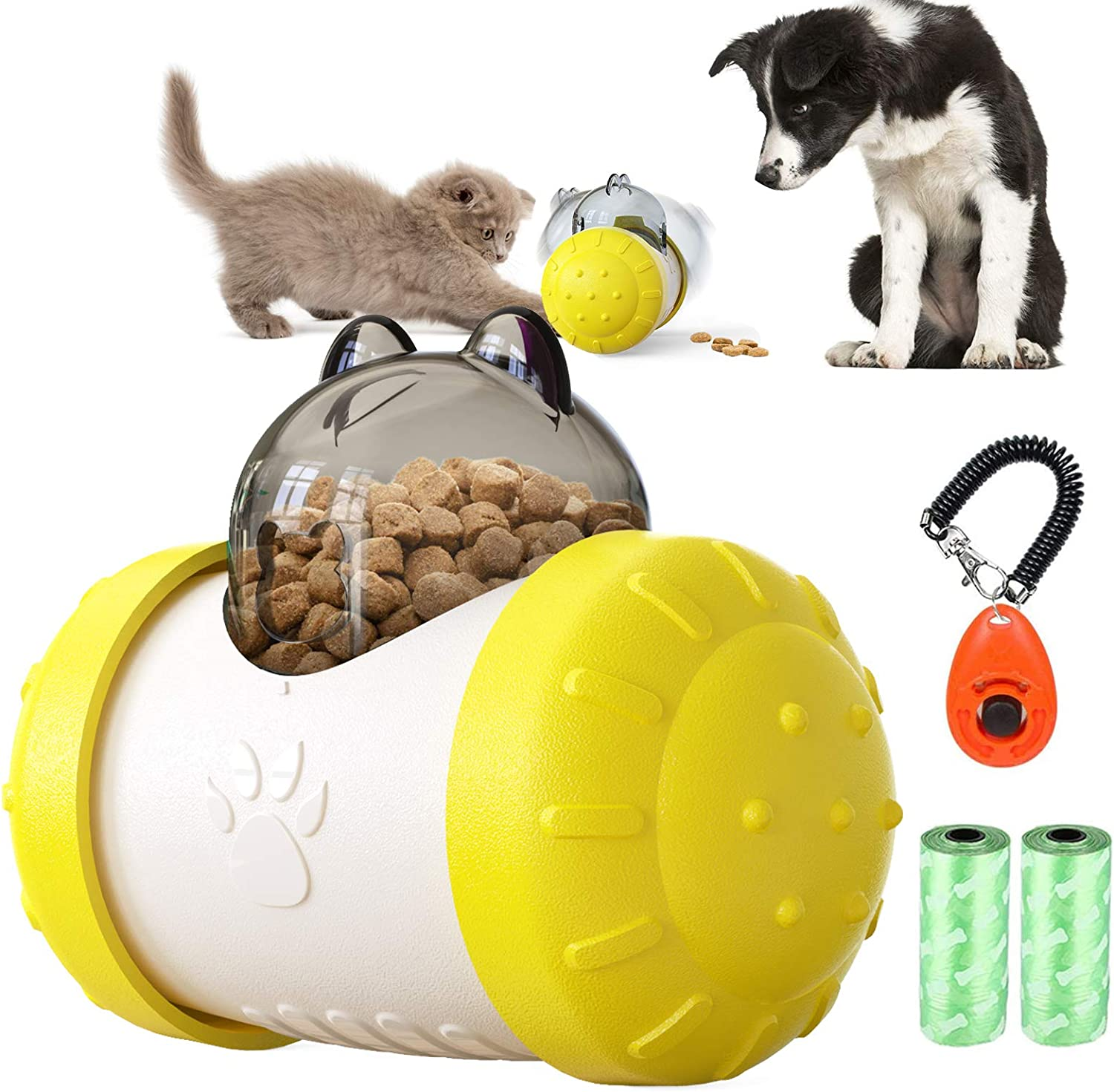 Dog Slow Feeder Training Ball Interactive Toys Pet Food ball Tumbler Treat Educational Toy Increases IQ Mental Stimulation Training Games Food Dispensing Supplies for Puppy Small to Medium Cats Dogs