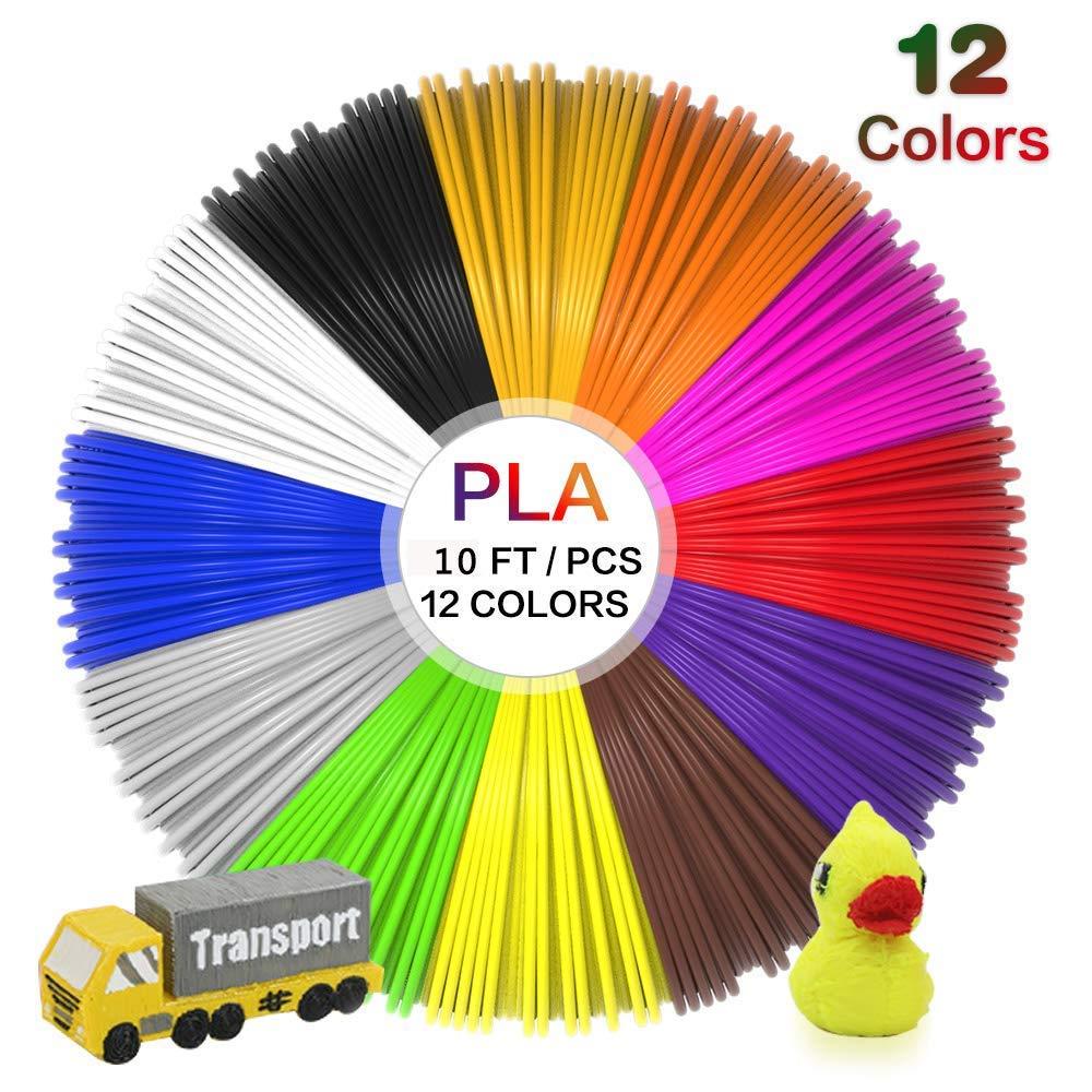 Filament PLA 1,75 mm de 12 couleurs diff/érentes Longueur totale 36 m Chaque couleur 3 m Filament de diam/ètre haute pr/écision Stylo 3D // Filament dimprimante 3D