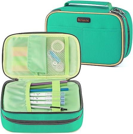 Homecube - Estuche para lápices con 3 compartimentos, gran capacidad con compartimento interior, cremallera (verde): Amazon.es: Oficina y papelería