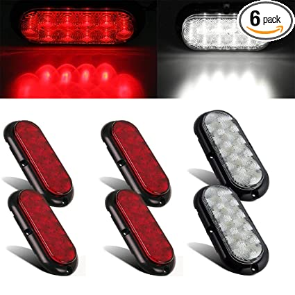 NPAUTO 2Pcs 6 Oval Trailer Tail Lights Red 6 LED Stop Turn Brake Light Trailer Marker Lights Flush Mount for RV Truck Boat Trailer Waterproof