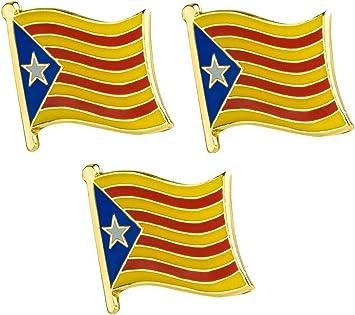 Pack de 3 x Insignias de Pin de Metal catalán de la Bandera de Cataluña: Amazon.es: Juguetes y juegos