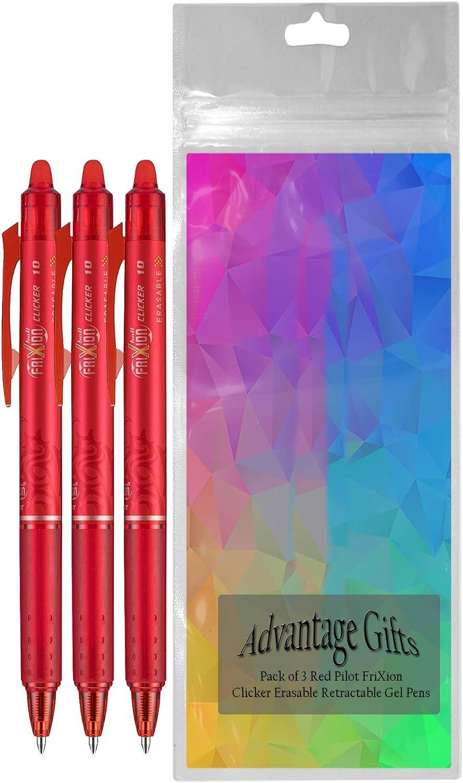 PILOT FriXion Clicker Erasable 11384 12 Count Bold Point Black Ink Refillable /& Retractable Gel Ink Pens