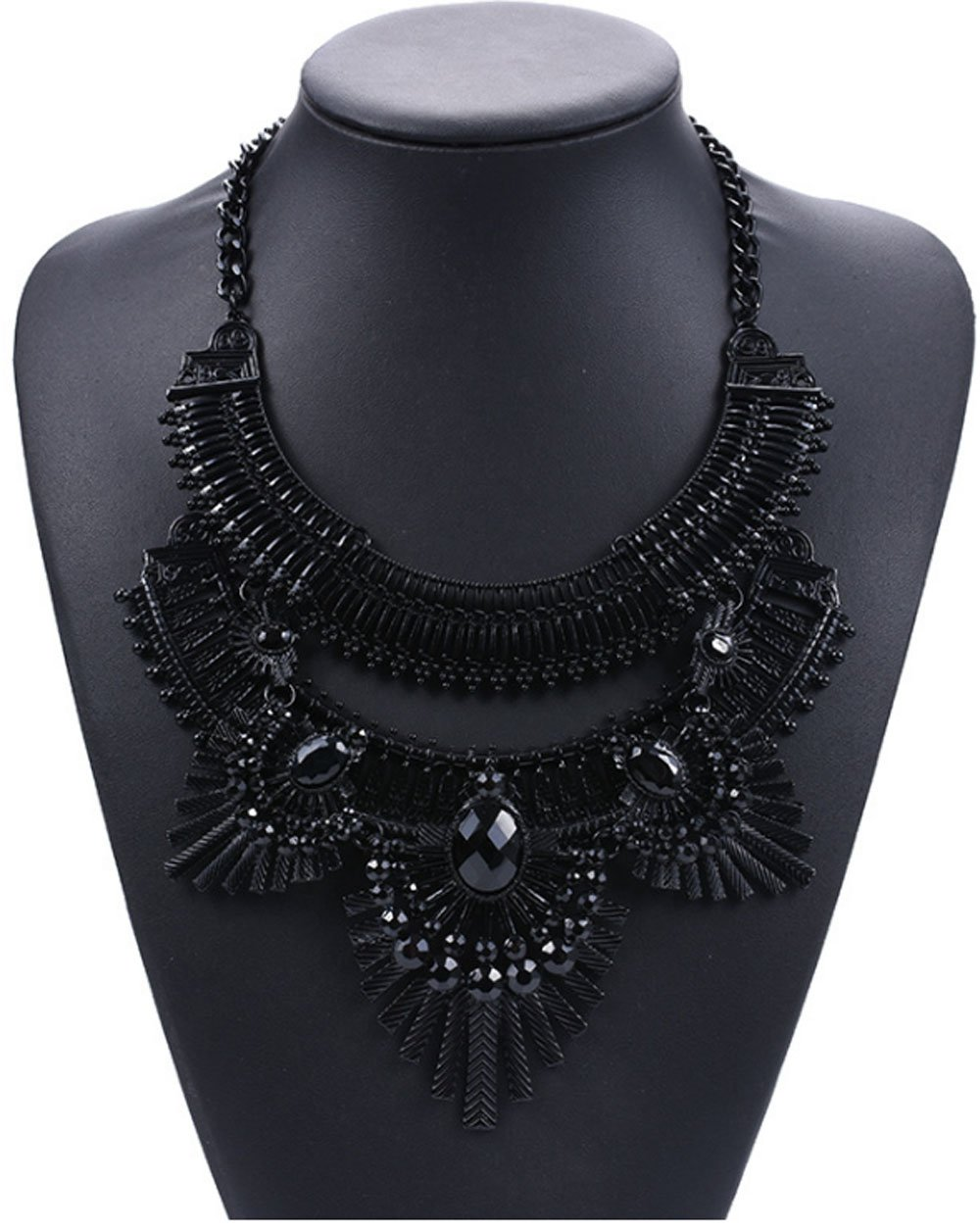 Shineland Hot Stunning Filigree Faceted Rhinestone Bib Exaggerated Multilayer Necklace (Black)