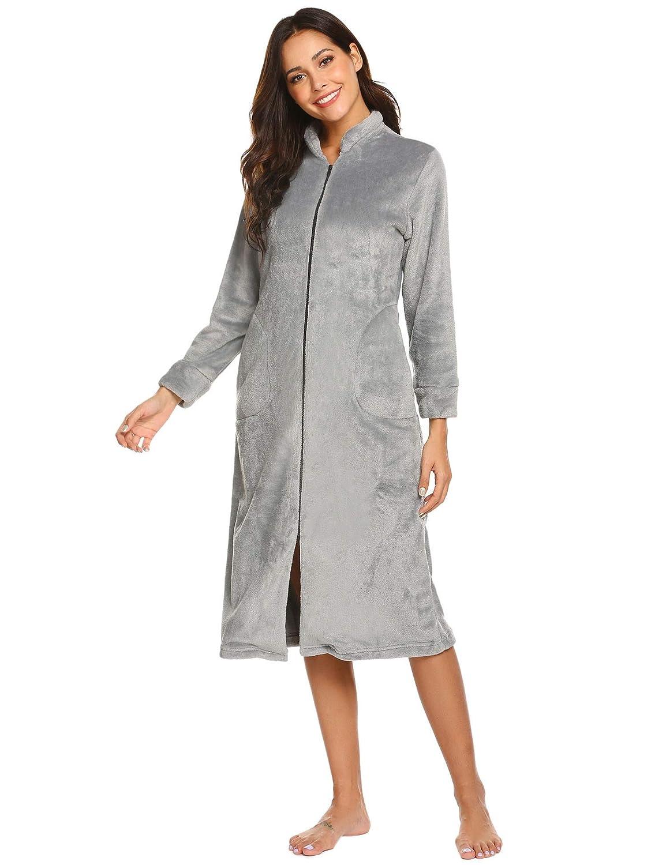 1ea7c69981 Ekouaer womens zip front flannel robe long sleeve long bathrobe housecoat  at amazon womens clothing store