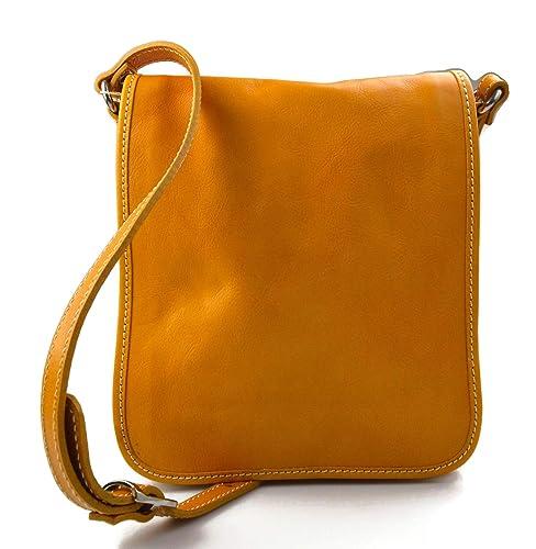 Tracolla pelle uomo donna giallo borsa pelle borsello uomo