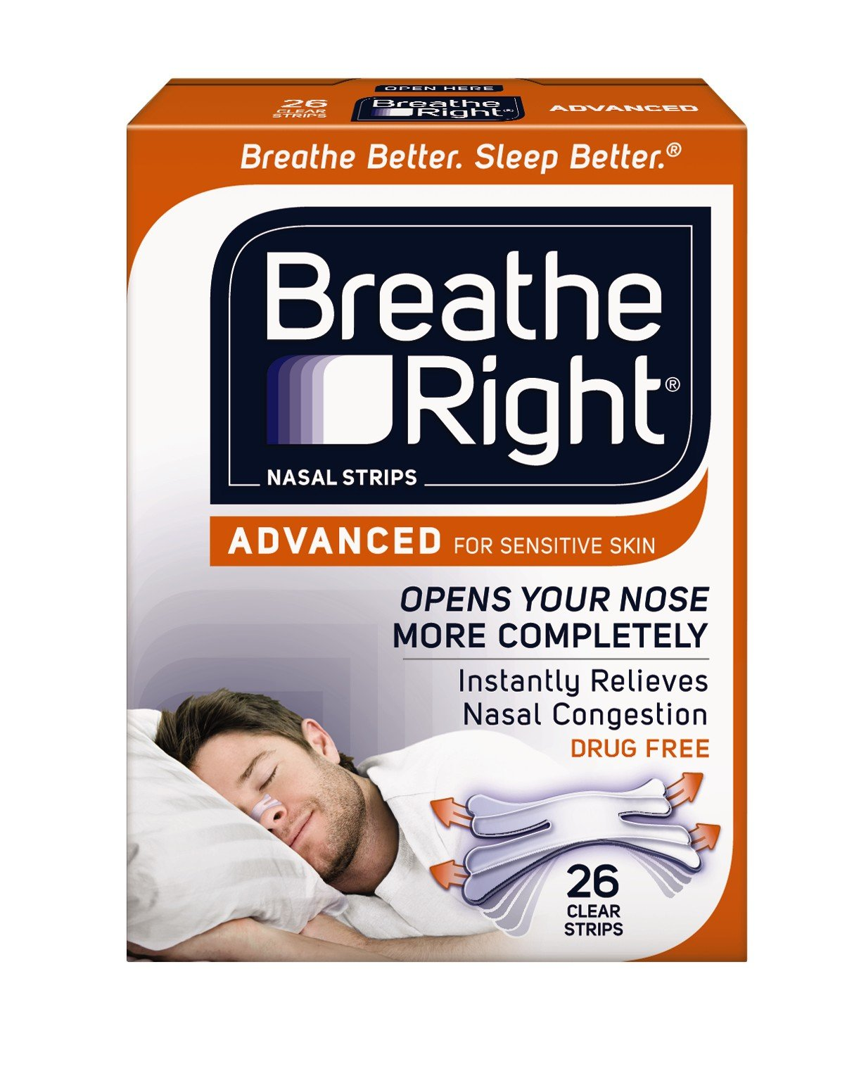Breathe Right Advanced for Sensitive Skin, Clear, 26 Strips (1 Box)