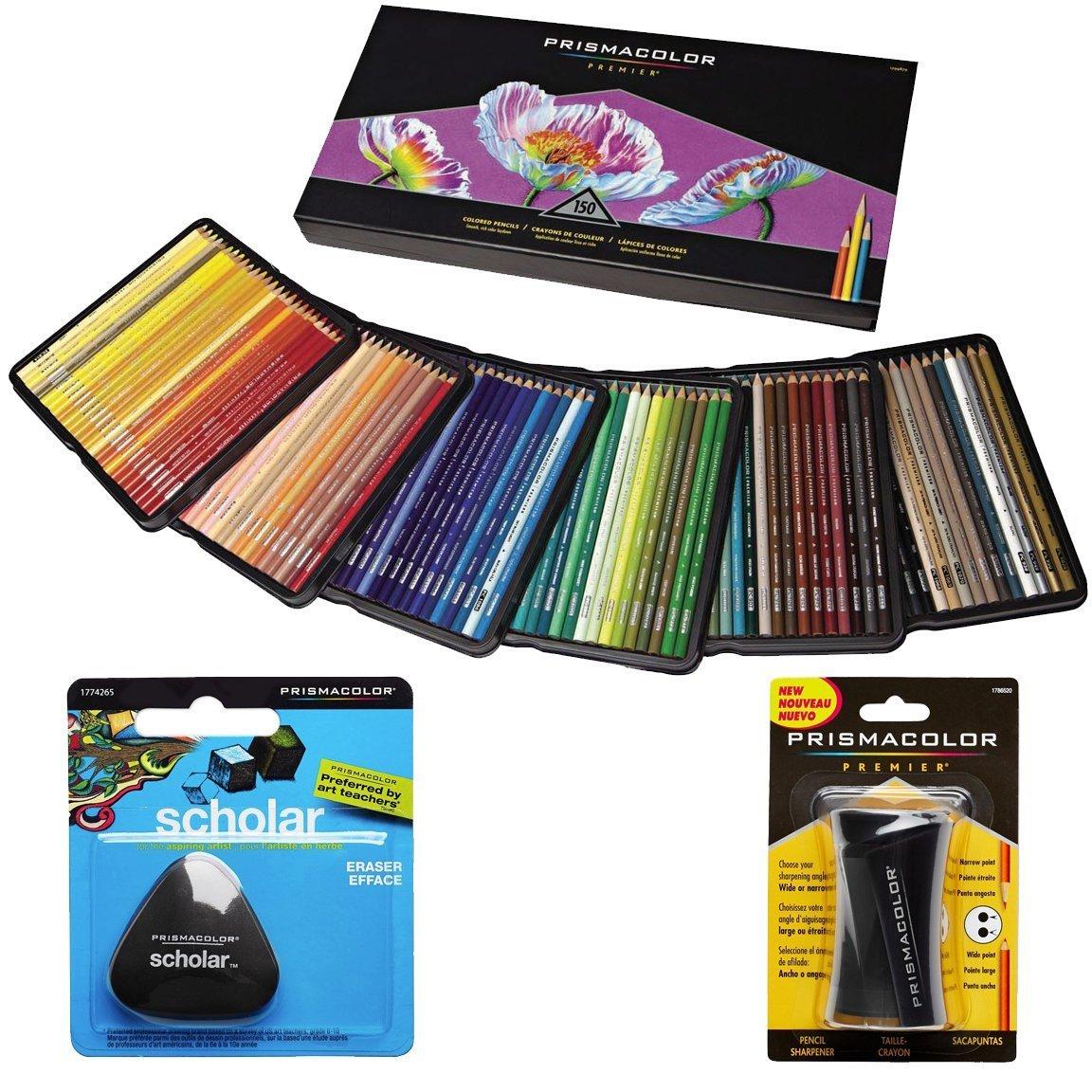 Prismacolor Colored Pencils Box of 150 Assorted Colors, Triangular Scholar Pencil Eraser and Premier Sharpener (1800059+VE99016+1774265) by PRISMACOLOR