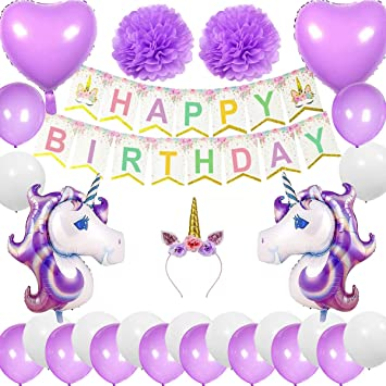 Cebelle Einhorn Birthday Party Supplies Dekorationen Lila Stirnband