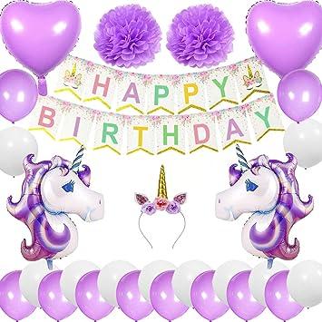 Cebelle Unicornio Fiesta cumpleaños Suministros Decoraciones, Unicornio Cuerno Diadema, Feliz Cumpleaños Banner, 2 Unicornio Enorme, 2 Globos Corazón, ...