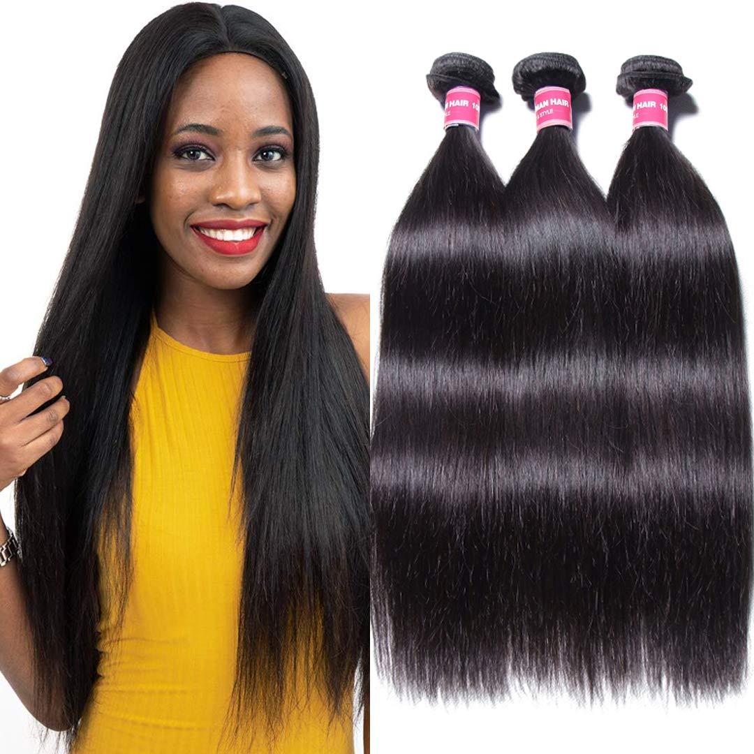 Jolia Hair Malaysian Virgin Hair Straight Human Hair 3 Bundles 7A Malaysian Unprocessed Virgin Weave Hair Human Bundles Natural Black Color 95-100g/pc Mixed Length (16 18 20, Natural Black) by BuLaDou