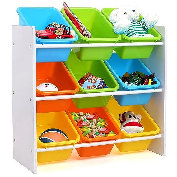 Homfa Estantería Infantil para Juguetes Libros Organizador Infantil de Juguetes Almacenamiento Juguetes con 9 Cajones 65 x 26.5 x 60cm: Amazon.es: Hogar