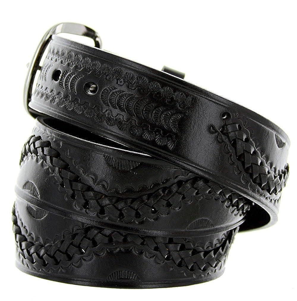 Hagora Men 1-1//2 Wide Tooled Genuine Leather Braid Inlay Metal Buckle Belt