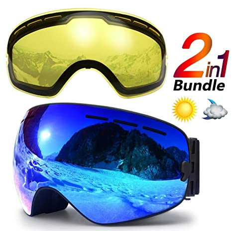 271aba33aca24f Image Unavailable. Image not available for. Color: hongdak Ski Goggles, Snowboard  Goggles UV Protection, Snow Goggles Helmet Compatible for Men Women