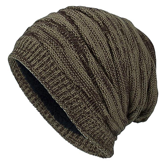 425efcfb95ae iParaAiluRy Gorro Invierno Hombre - Largo Caido Gorros de Punto con Forrado  de Polar - Unisex Caliente Sombreros para Hombre y Mujer