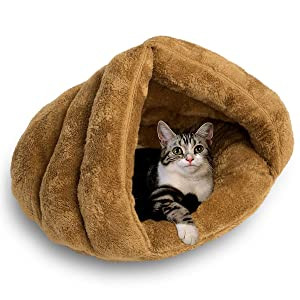 Plush Cat Sleep Bag Zone Pet Cave Bed Cozy Cuddle Pouch Pet Bed Covered Hooded Pet Cave for Cat and Puppies