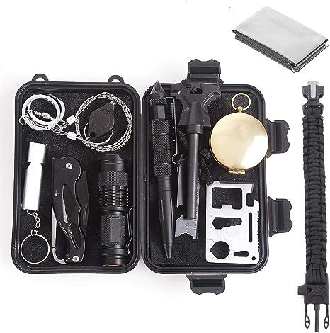 Unigear Kit De Supervivencia 13 En 1 Equipo de Emergencia Multifunci/ón SOS Autoayuda Autoprotecci/ón Senderismo Camping Excursionismo
