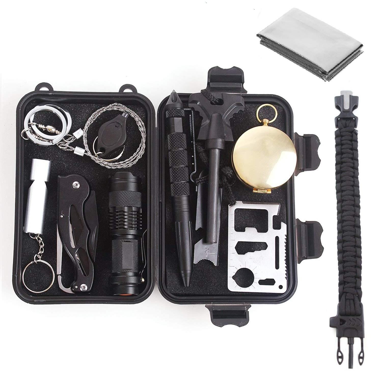 Unigear Kit De Supervivencia 13 En 1 Equipo de Emergencia Multifunción SOS Autoayuda Autoprotección Senderismo Camping
