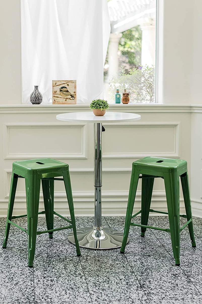 """Vogue Furniture Direct 24"""" High Barstools Backless Green Metal Barstool Indoor-Oudoor Counter Height Stool with Square Seat, Set of 2 - VF1571020"""